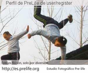 Perfil de PreLife de user/register